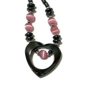 Jewelry - Hematite and Cat's eye heart necklace